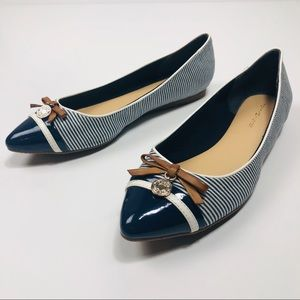 Tommy Hilfiger Navy Canvas and Patent Leather Flat